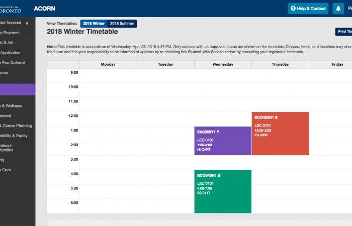 ACORN: Timetable & Exams