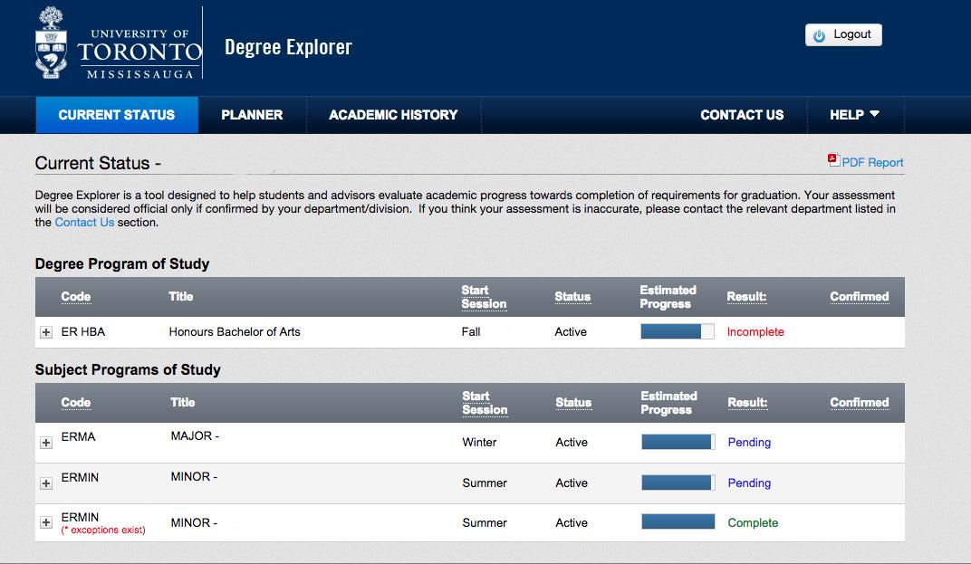 Degree Explorer 2018