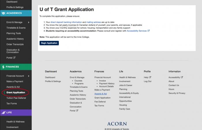 ACORN: Grant Application